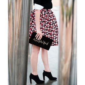 Kate Spade petit four cupcake print full skirt 14